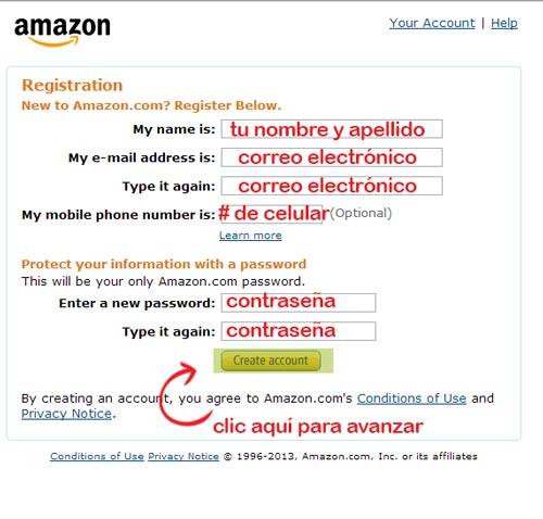 abrir una cuenta de amazon registrarse en amazon