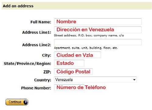 direccion en amazon desde venezuela