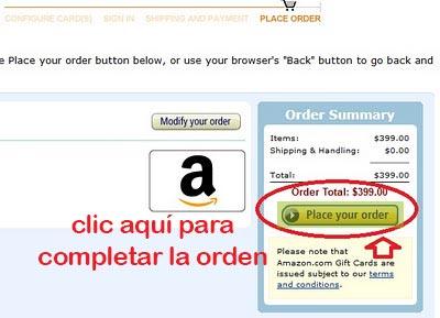 ordenar tarjeta de regalo en venezuela