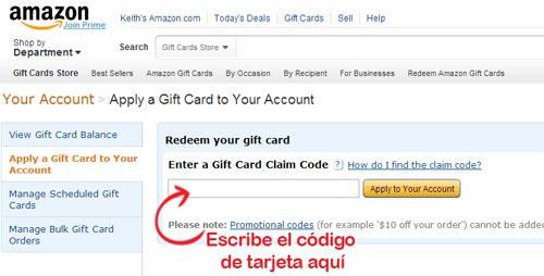 usar tarjeta de regalo amazon por Internet