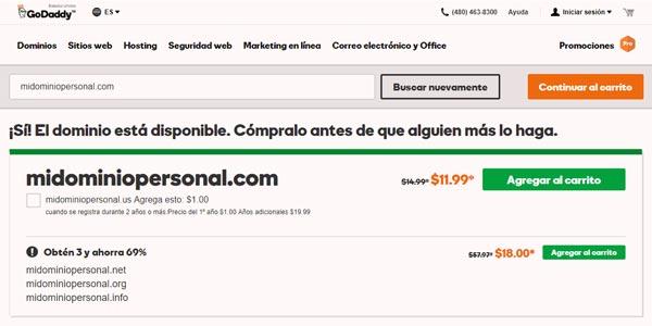Comprar un dominio GoDaddy elegir dominio