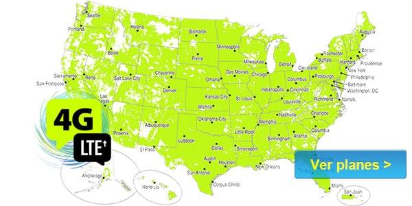 mapa de Straight Talk cobertura señal mejores compañías de celulares estados unidos
