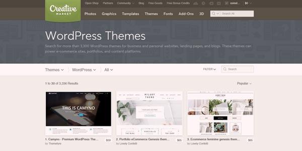 Creative Market tienda plantillas wordpress