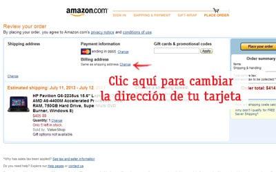 cambiar la direccion de una tarjeta comprar en amazon fuera de usa