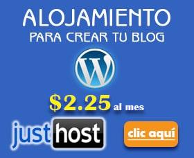 crear un blog wordpress alojamiento con justhost