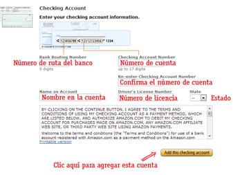 pagar en amazon agregar una cuenta del banco