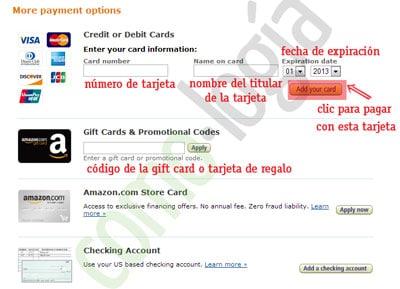 olvidar la tarjeta de credito de amazon