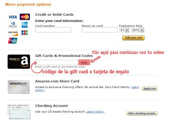 pagar en amazon como usar una tarjeta de regalo de amazon