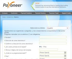 formulario de contacto para abrir una cuenta payoneer