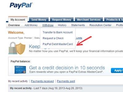 solicitar una tarjeta de debito paypal
