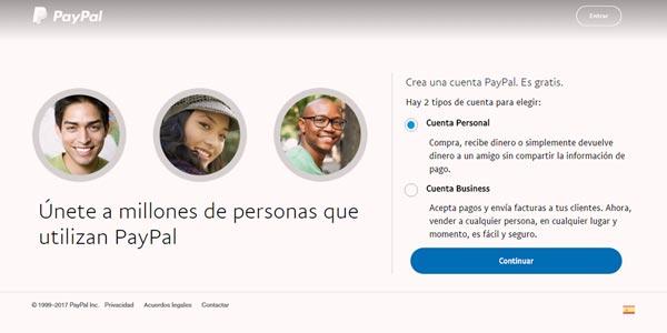 Cuenta PayPal personal o de negocios
