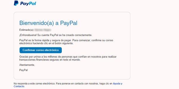 correo verificacion registrarse en paypal