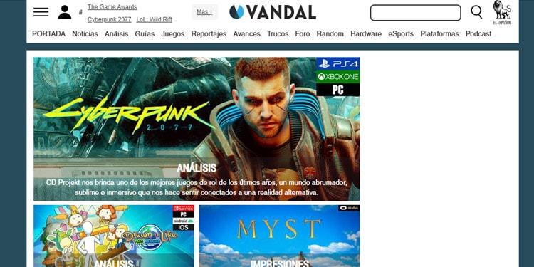 Mejor sitio de noticias de videojuegos Vandal