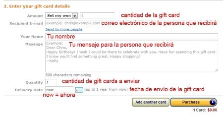 tarjetas de regalo amazon comprar por internet