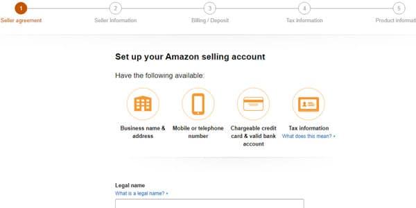 vender en amazon formulario de registro vendedor