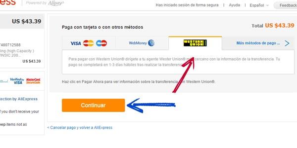 pagar en AliExpress con Western Union metodo de pago