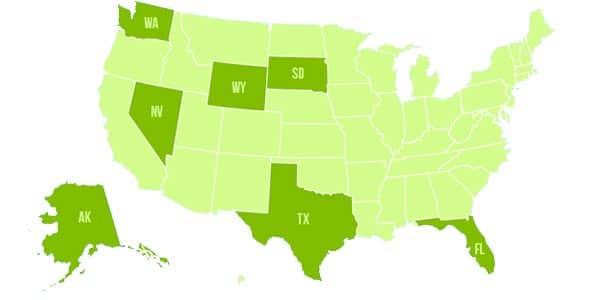 Estados que no tienen state taxes o impuestos estatales: