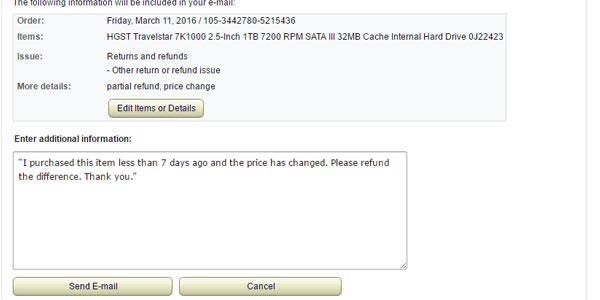 Rembolso en Amazon por una compra ya realizada cambio de precio