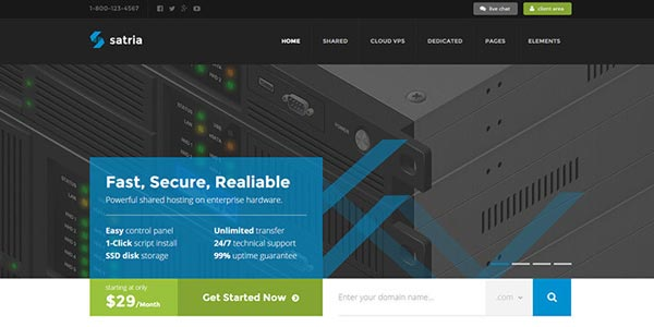 Mejores temas WordPress para hosting: Satria