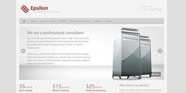 Plantillas WordPress hosting: Epsilon