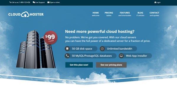 Plantillas WordPress para web hosting: Cloud Hoster