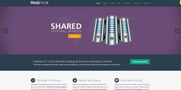 Temas WordPress alojamiento web: Hostme v2