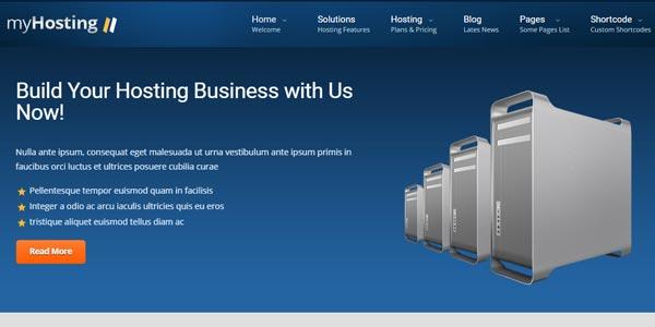 Temas WordPress de web hosting: myHosting