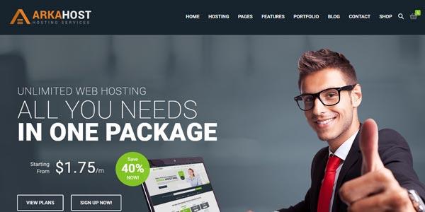 Temas WordPress para alojamiento web: Arka Host