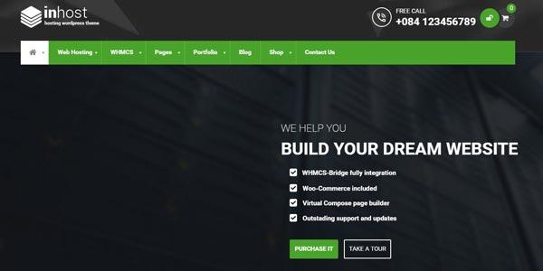 Temas WordPress para alojamiento web: inHost