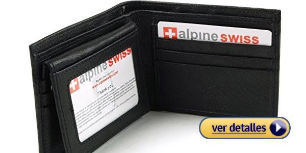 6119127a5 Billeteras de cuero para hombres de marca alpine swiss cartera flip up con  portador de identidad