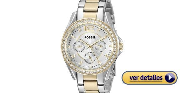 33687c9b0028 Mejores relojes de mujer  Reloj Fossil Riley con tonos dorado y plateado