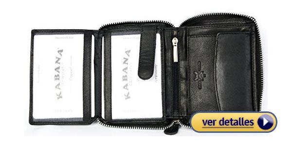 f6fe0d69cd1 Billeteras con zipper para hombre billetera de cuero negro kabana