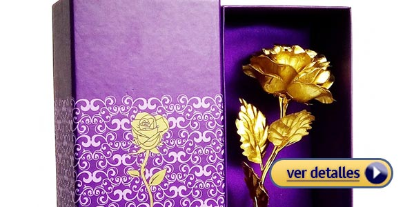 Regalos baratos de san valentin de ultima hora rosa banada en oro