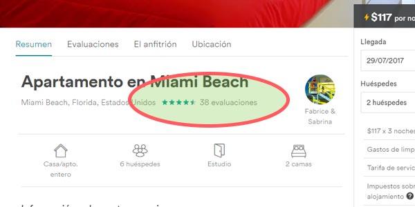 Airbnb comentarios y opiniones de la propiedad