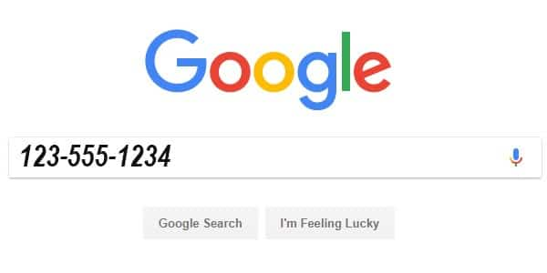 búsqueda inversa de teléfono con Google