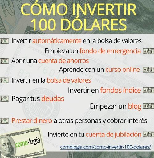 como invertir 100 dolares infografico