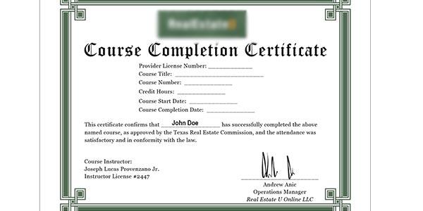 Certificado de finalizacion del curso de real estate