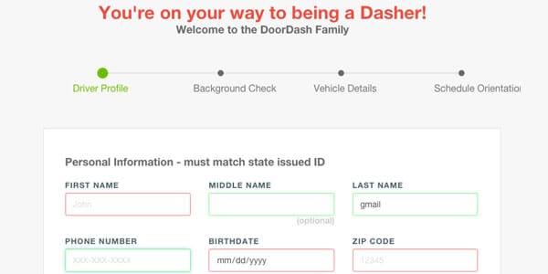 aplicar para ser repartidor de comida con DoorDash