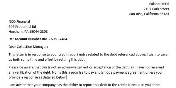 ejemplo de carta pay for deletion deuda en coleccion