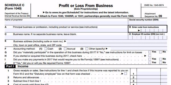 formulario schedule c anexo c trabajador independiente