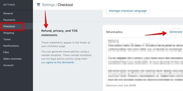generar politica de privacidad y retorno shopify