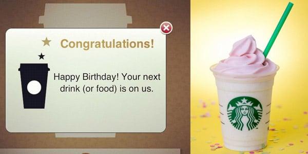 Starbucks Bebida gratis cumpleaños