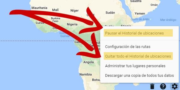 borrar historial de ubicacion google
