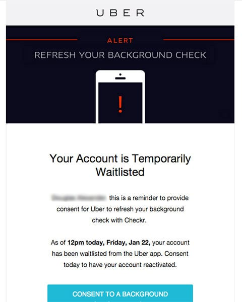 waitlisted en uber verificación de antecedentes
