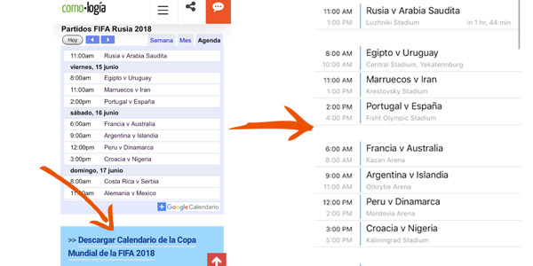 calendario mundial rusia 2018 en iphone
