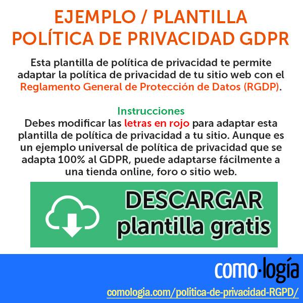 ejemplo politica de privacidad GDPR