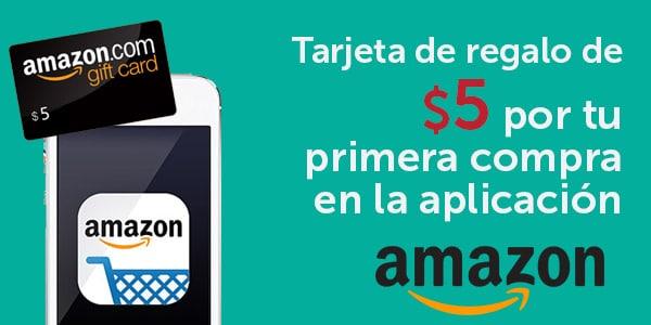 Tarjeta de regalo de 5 dolares con la aplicacion Amazon