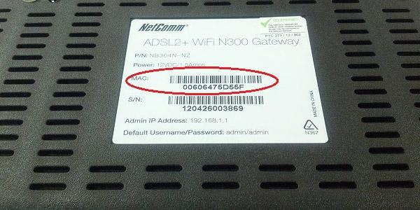 Direccion MAC modem cmac