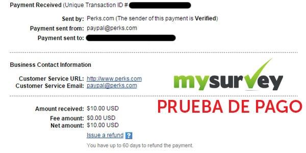 mysurvey prueba de pago ganar dinero