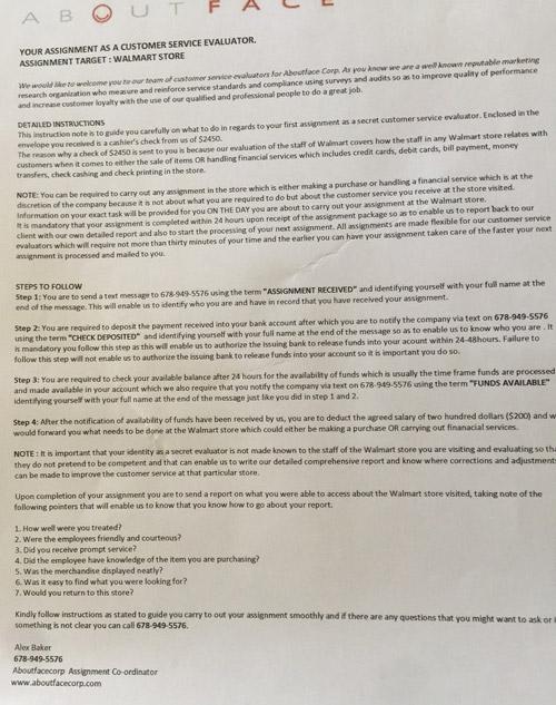 carta estafa mystery shopper fraude